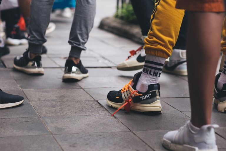 "Nike ""Air"" Presto Off-White spotted while queuing."